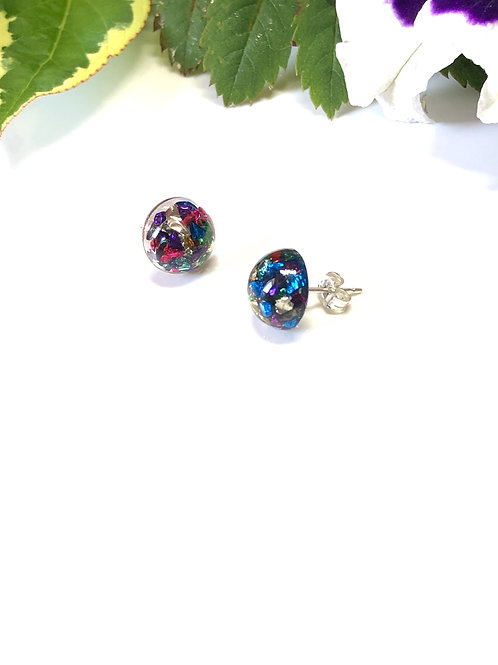 Rainbow Sparkle Studs (Sterling Silver Posts & Backs)
