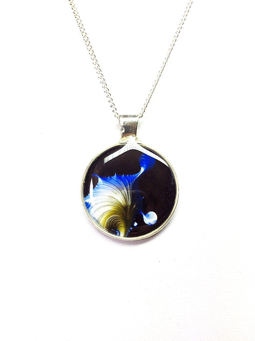 Blue and White Fractal Pendant