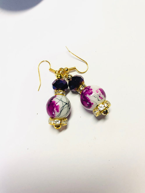 Purple Painted Glass Bead Earrings Gold Plated Ear Wires