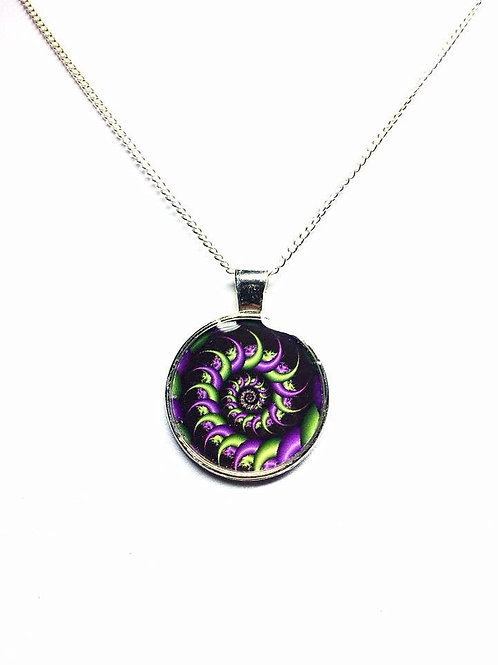 Purple and Green Spiral Fractal Pendant