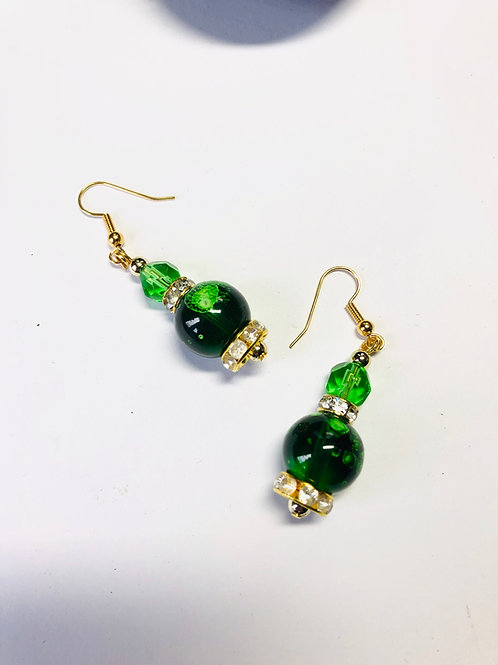 Galactic Green Glass Bead Earrings Gold Plated Ear Wires