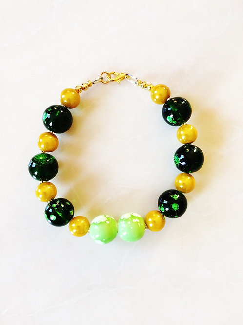 Galactic Green & Gold  Bracelet