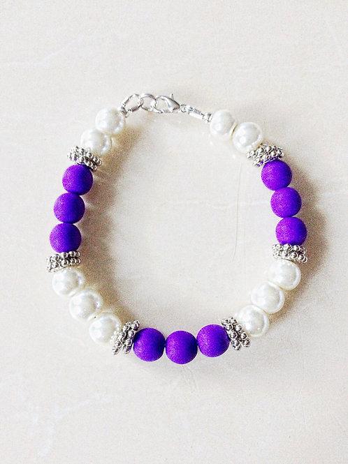 Neon Purple & Glass Pearl Bracelet