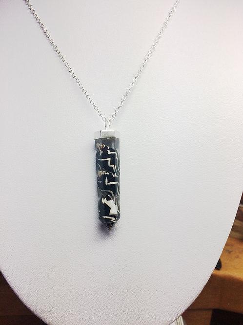 Real Lightening Dove Seashells in a Tapered Resin Pendulum