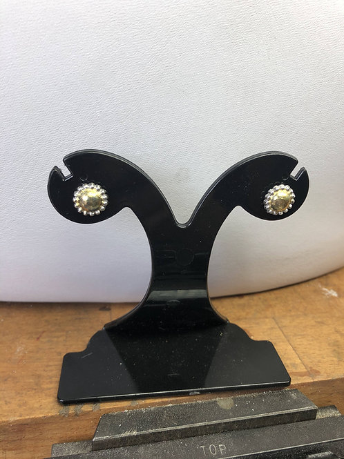 Fine Silver and Gold Stud Flower Earrings