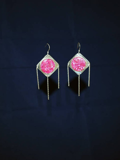 Diamond Shaped Sterling Silver Pink Crushed Oyster Shell Earrings