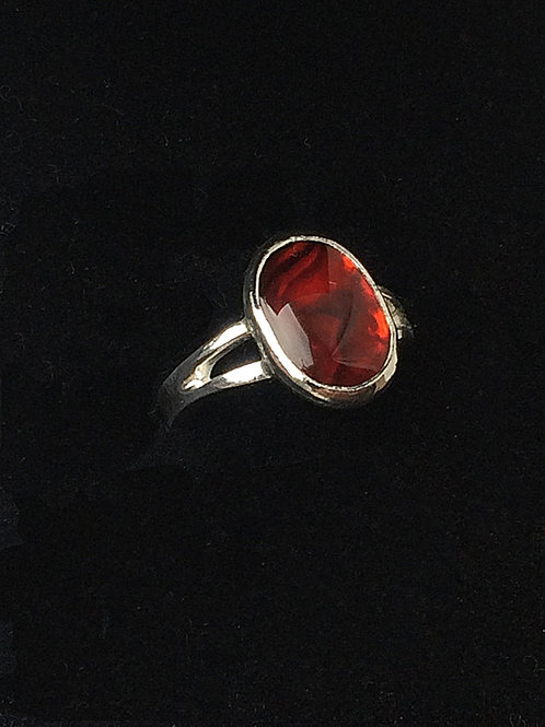 Sterling Silver Red Paua Shell Oval Ring