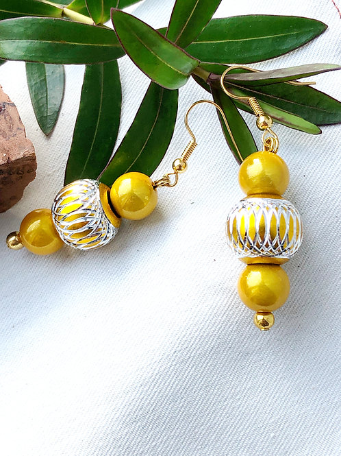 Gold & Silver Filligree Statement Bead Earrings