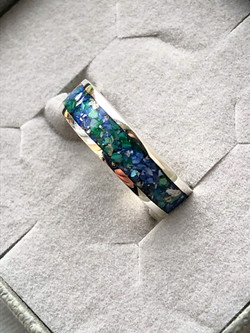 Blue & Green Ashes Ring