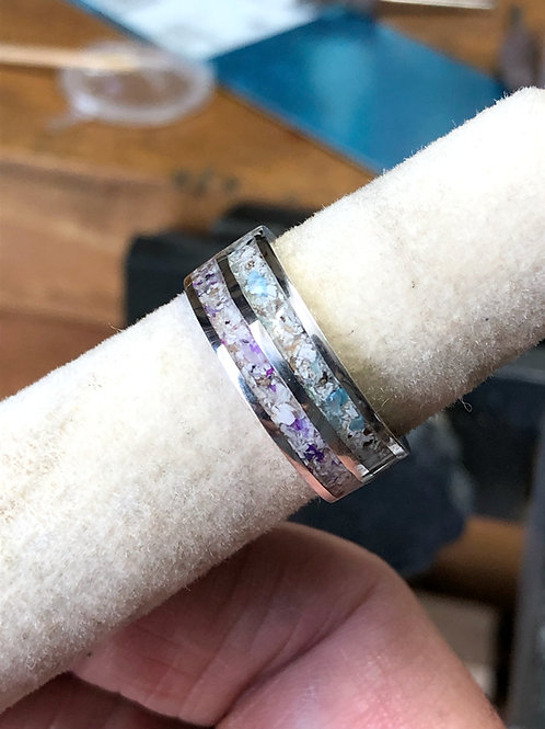 Dual Channel Sterling Silver Cremation Ashes Memorial Inlay Ring
