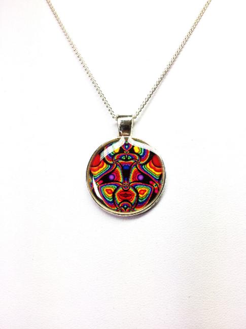 Aztec Totem Fractal Pendant Fractal Art Necklace