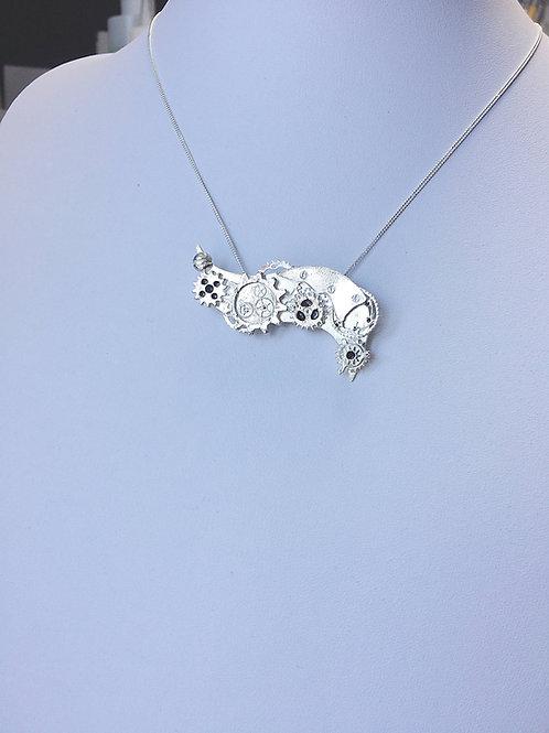 The Silver Clockwork Dragon Pendant