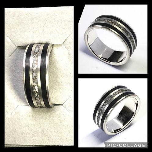 Sterling Silver Three Channel Ashes Memorial Ring