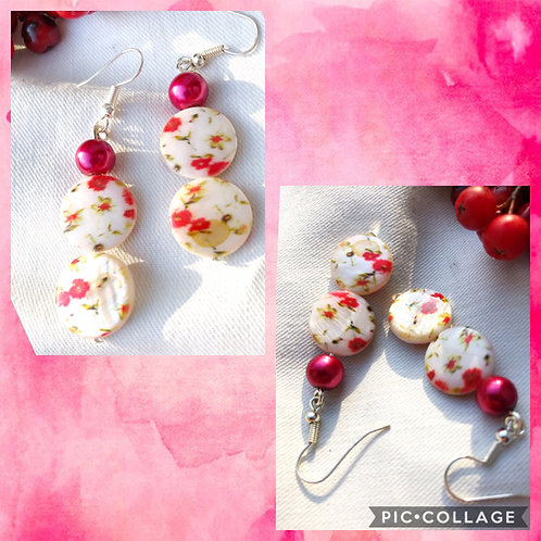 Floral Mother of Pearl Coin Bead Earrings