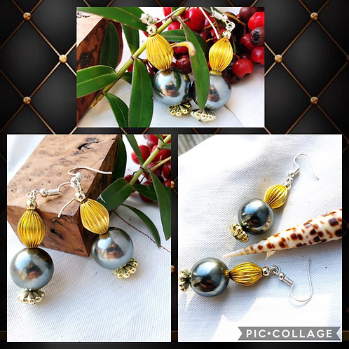 Silver Grey Round with Ribbed Gold Oval Bead Earrings