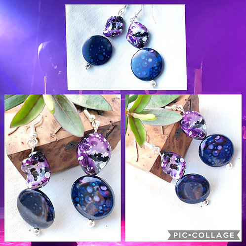 Purple Mother of Pearl & Coin Bead Earrings