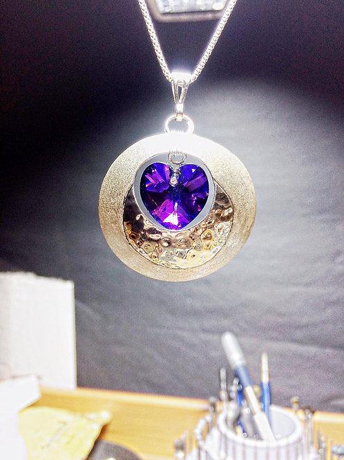 The Silver Domed Swarovski Purple Heart