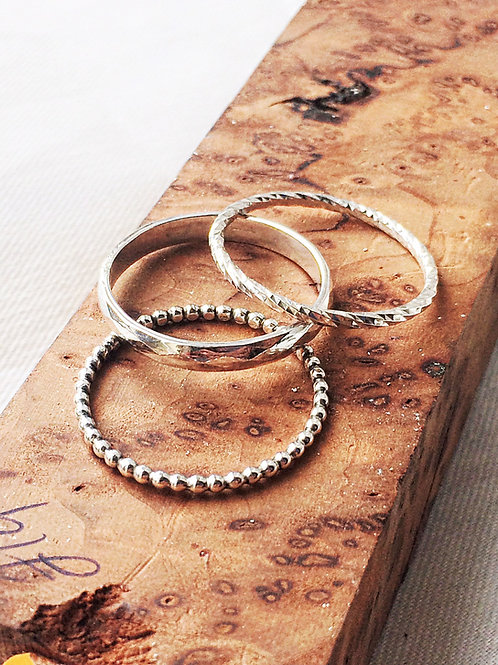 Sterling Silver Stacking Rings, Bead, Diamond Cut and Hammered Finish
