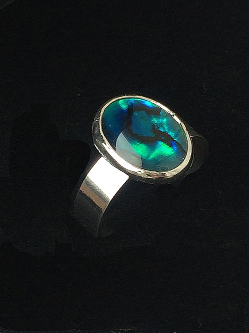 Sterling Silver Green Blue Abalone Paua Shell Ring