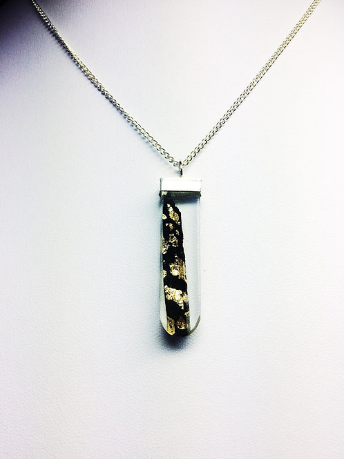 Ebony Shard with Gold Leaf set in Round Bottom Rectangular Resin Pendant