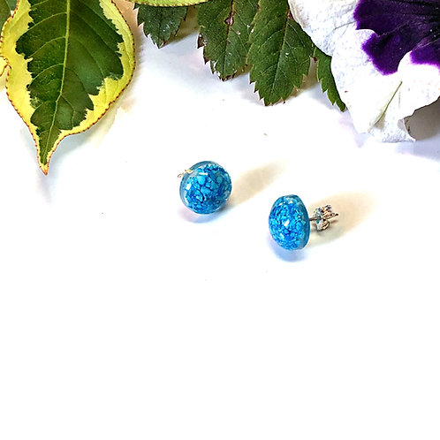 Genuine Turquoise Chip Stud Earrings (Sterling Silver Posts & Backs)