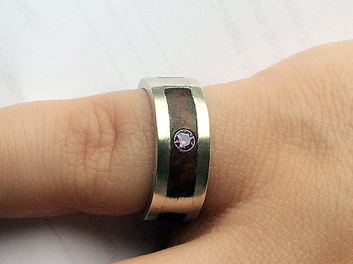 Sterling Silver Wood Inlay Satin Finish Double Gallery Ring