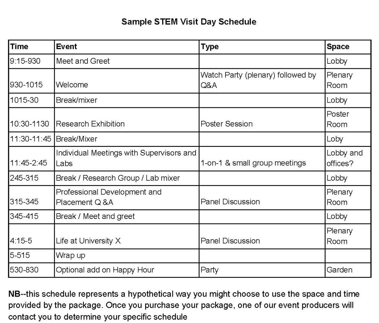 STEM Sample Schedule