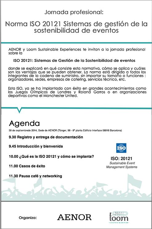 ISO 20121 sistemas de gestión de eventos sostenibles. Agenda de la norma ISO