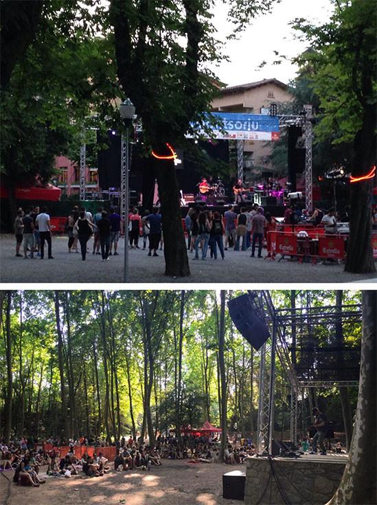 Escenario con un grupo de música tocando, en el gestival de Pop Arb Arbúcies, gente bailando y escuchando la música. Arboles del bosque donde hay el escenario, gente sentada escuchando el concierto.