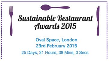 flyer sobre los Premios del Restaurante sostenible 2015, Londres. Tenedor, cuchara y cuchillo