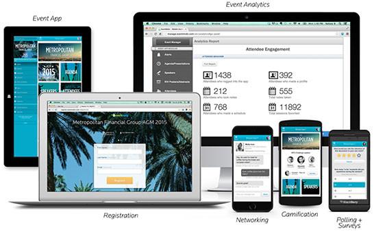 Event App, Event Analytics, Registration, Networking, Gamification. Pantallas de Ipad, Mac air, Iphone, smartphone.