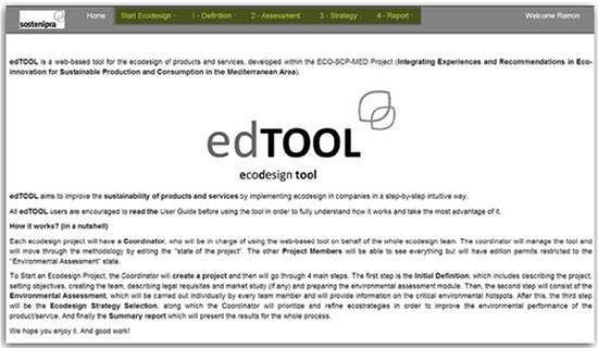 edTOOL ecodesign tool. Texto explicativo de la app