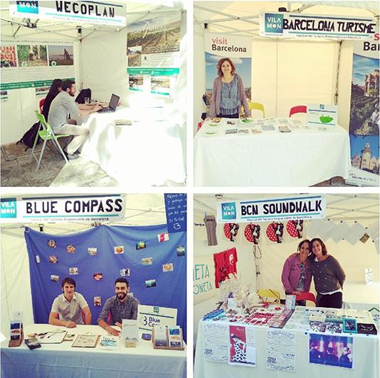 diferentes paradas de la primera Fira del Festival de Turismo Responsable de Barcelona. Paradas de Wecoplaw, Blue Compass, BCN Sound walk, Barcelona Turisme