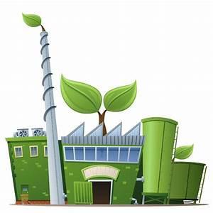 ilustración sobre una fábrica que se ha vuelto verde y le crecen plantas por la fachada. Le sales hojas por el tejado y la chimenea. Símbolo de la implementación de la ISO 14001