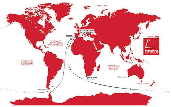 mapa mundial en rojo sobre la ruta de la Barcelona World Race