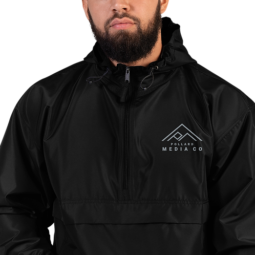 Embroidered Champion Packable Jacket, Black