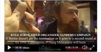 "Bernie campaign organizer- ""F**king Milwaukee will burn"" if Bernie doesn't get the nomination"