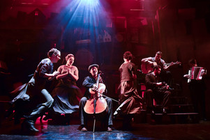 Haymarket at the Edge Theatre in Chicago (2016). Directed by Elizabeth Margolius, music directed by Robert Ollis. Lighting design by Erik Barry, costumes by Carolyn Cristofani, and scenic design by Kurtis Boetcher. Photo: Evan Hanover.