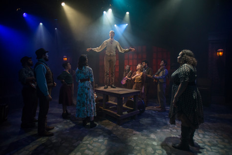 Haymarket at the Den Theatre in Chicago (2018). Directed by Nick Thornton, music directed by Robert Ollis. Lighting design by Erik Barry, costumes by Christina Leinicke, and scenic design by Eric Luchen. Photo: Michael Brosilow.