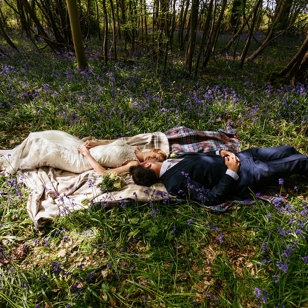 wedding couple in bluebells at Gildings.