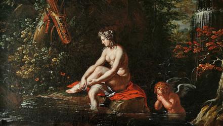 LE BAIN DE DIANE  Huile sur toile, attribuée à Joseph Werner (1637 - 1710).  RÉSERVÉ
