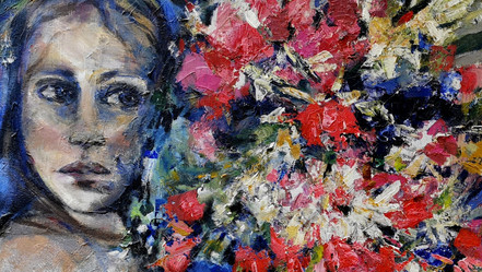 La Fille  aux fleurs  huile sur toile, milieu XXème, signée Brapp  1400 €
