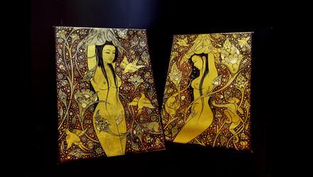 Nit Chai-Ngewkham  Naree Phon  Paire d'huiles et Or 24 carats sur toile.  1300€