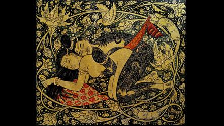 Nit Chai-Ngewkham  Paradise N°1  Acrylique et feuille d'or 24ktsur toile  1900 €