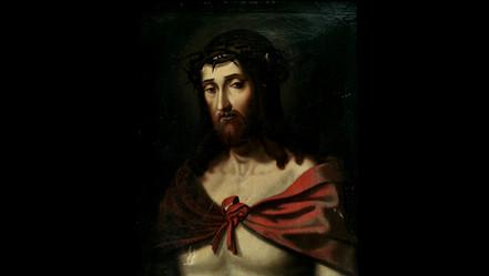 Christ à la Couronne d'épines  Huile sur toile, école espagnole, XIXème.  VENDU
