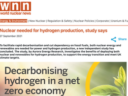 Nuclear Needed for Hydrogen Production, Study Says