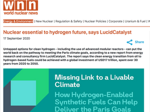 Nuclear essential to hydrogen future, says LucidCatalyst