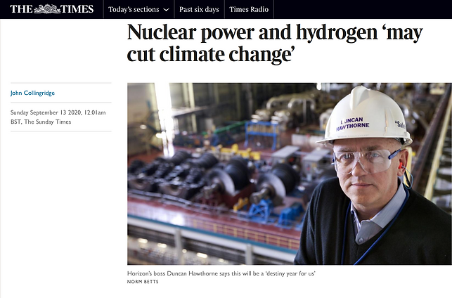 The Sunday Times article – Nuclear power and hydrogen 'may cut climate change'