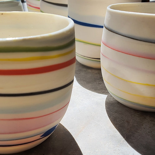 Neriage rainbow porcelain cups