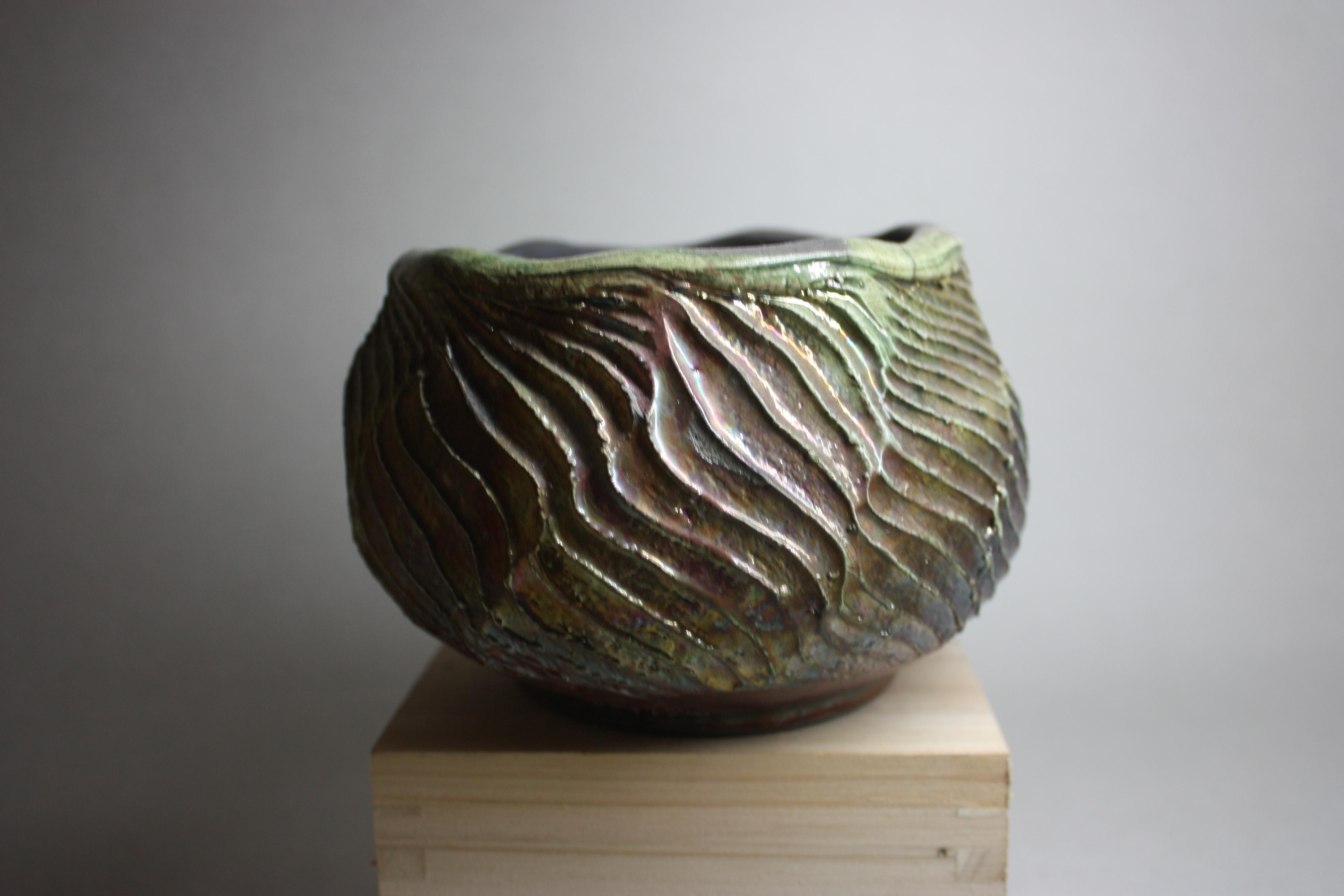 Raku carved vase